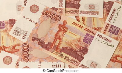 Russian roubles - Full frame video shot of Russian roubles...