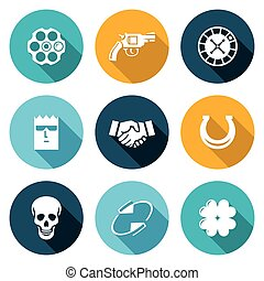 Russian roulette game Icons Set. Vector Illustration.