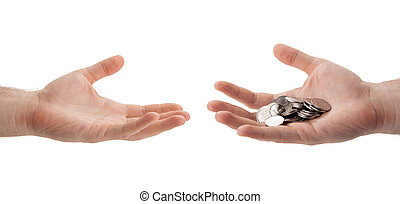 Russian ruble coins in the palm of a person who hands over to another hand