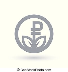 Russian Ruble grow concept icon