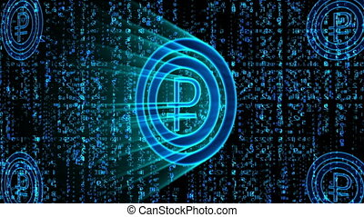 """""""3d rendering of a Russian Ruble sign of a blue color, thumping and turning right and left with falling Matrix style numbers in the black background. Four other ruble signs are seen in the corners. """""""