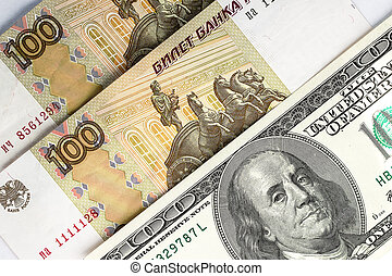 Russian rubles and US dollars as background