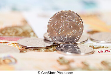 Russian rubles coins and banknotes close up
