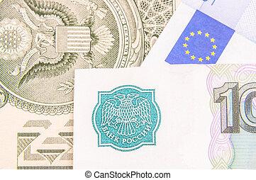 Russian rubles, euros, dollars