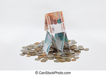 Russian rubles on a white background