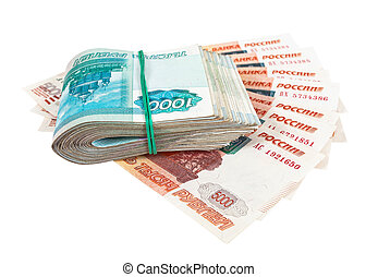 Russian rubles over white background