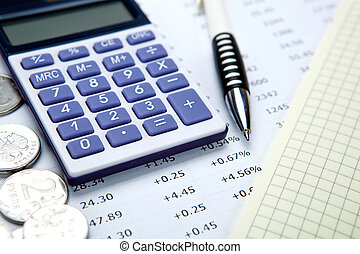 Russian rubles with calculator and pen