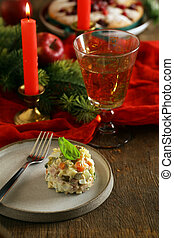russian salad olivier for new year and christmas