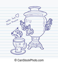 Russian samovar and cup. Vector skethnote design