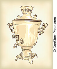 Russian samovar. Vintage vector illustration.