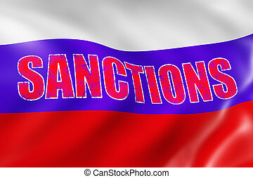 Russian sanctions - Russian flag with a red inscription -...