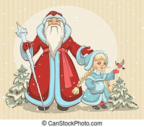 Russian Santa Claus. Grandfather Frost and Snow Maiden. ...
