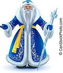 Russian Santa Claus grandfather frost in blue fur coat. ...
