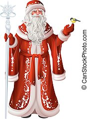 Russian santa claus holds staff and tit. Christmas national...