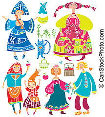 Russian set - Decorative set of Slavonic cartoon characters:...