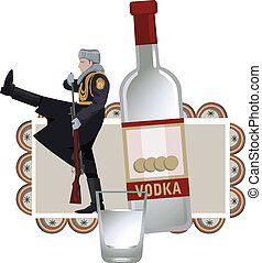 Illustration with russian soldier and vodka, isolated on white background