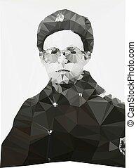 Russian soldier portrait winter form geometric