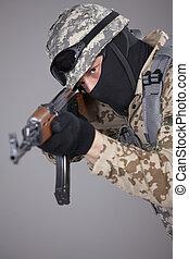 Russian soldier with machine gun