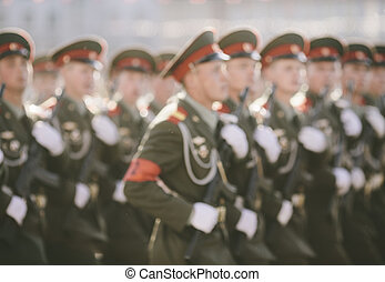 russian soldiers at the parade