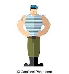 Russian soldiers. Military man in t-shirt and blue beret. A strong man stands. Vector illustration. Airborne Troops. Vector illustration