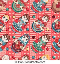Russian souvenir. Matryoshka - babushka doll. Seamless pattern. Vector