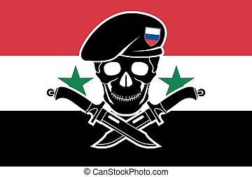 russian special forces and syrian flag