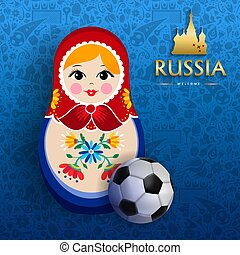 Russian sport event poster of doll and soccer ball - Russian...