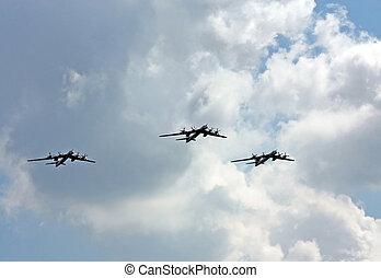 Russian strategic bombers in flight