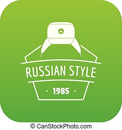 Russian style icon green vector isolated on white background