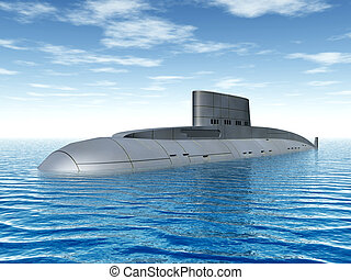 Russian Submarine - Computer generated 3D illustration with...