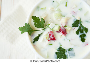 Russian summer soup with vegetables and yogurt