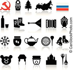 Russian Symbols Icon Set.