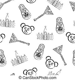 Russian symbols icons pattern