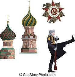 Russian Symbols - Illustration of Kremlin towers, soldier...