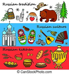 Russian symbols, travel Russia, Russian traditions. Set of colorful flat style design icons. Vector illustration.