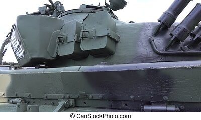Russian tank details, close-up pan shot - Tank details,...
