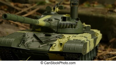 Russian tank T-72 front view, camera motion, close to