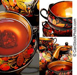 Russian tea collage