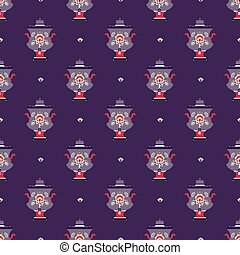 russian tea pot symbol seamless pattern