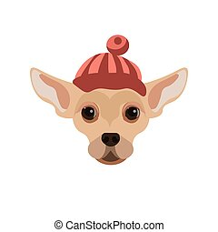 Russian Toy Terrier dog wearing red hat portrait