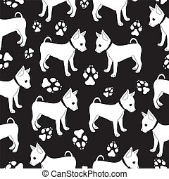 Russian Toy Terrier, seamless pattern with dogs.