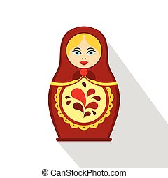 Russian tradition matryoshka doll icon, flat style