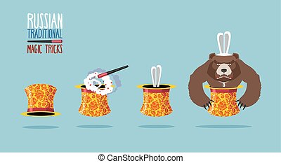 Russian traditional magic trick. Hat in Russian folk ornament. An angry Russian bear. Instead of rabbit out of hat was bear. Rabbit in magicians top hat