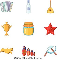Russian traditional symbols icons set