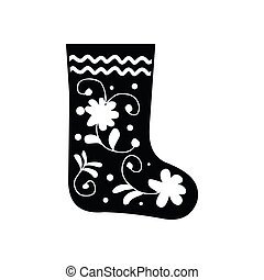 Russian traditional winter felt boots icon in simple style...