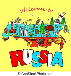 traditional national elements icons on russian map - Russian...