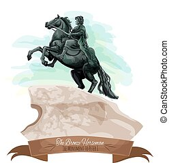 Russian travel sight icon with The Bronze Horseman