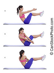 Russian Twist - Step by step instructions for abs: Lie on...