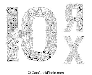 Hand-painted art design. Black and white hand drawn illustration russian letters. Part 8