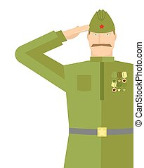 Russian veteran soldiers salute. Retro military. Vintage soldier. 9 may illustration. Holiday in Russia
